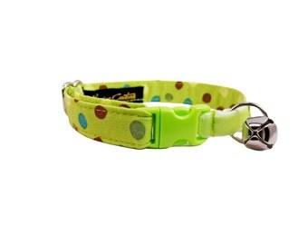 Elastic Safety Cat Collar , Green Cat Collar , Cute Cat Collar