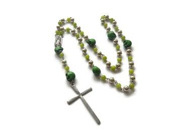 Verde – Green Necklace - Mexican Sugar Skull Rosary Beads - Dios De Los Muertos/Virgin of Guadalupe - Green/Silver– Mishimon Designs