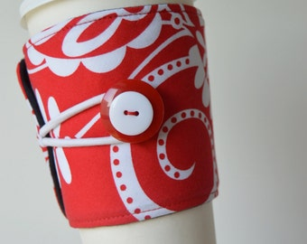 Whimsy Doozie (Michael Miller) Adjustable, Tapered Cup Cozy ~ for Hot & Cold drinks - READY TO SHIP