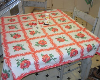 Vintage Tablecloth Pretty Poppies & Wheat