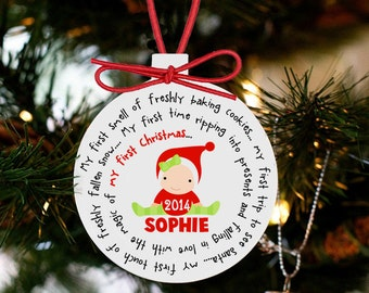 Baby's first Christmas ornament personalized for a girl or a boy - great custom new baby Christmas gift ORNAMBFCBG