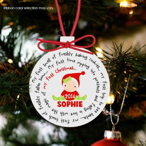Baby's first Christmas ornament personalized for a girl or a boy - great custom new baby Christmas gift