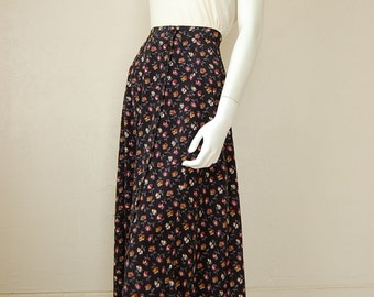 High Waist Skirt Vintage 80s Black Calico Floral Draped Boho Prairie Revival High Waist Maxi Skirt (m l)