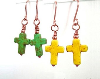 Gemstone Cross Earrings, Christian Jewelry, Colorful Earrings, Choice of Green or Yellow Stones, Copper, Religious Jewelry, Easter Jewelry