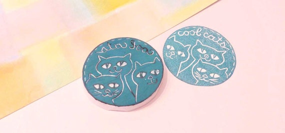 Cool Cats Rubber Stamp, Three Cats That Are Oh So Cool To Share With Friends,Teacher Stamp,Birthday Party Cat Stamp,Hand Carved Rubber Stamp