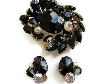 Vintage Black Glass & Aurora Borealis Rhinestones Brooch and Earrings Demi Parure Set