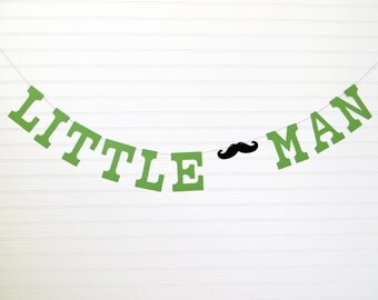 Little Man Banner - 5 Inch Letters with Mustache - Mustache Party Banner Little Man Mustache Banner Birthday Party Mustache Baby Shower