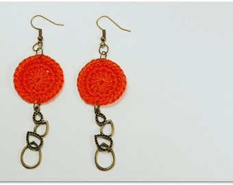 Orange Handmade Crocheted 1 Inch Circle Appliques With Antiqued Brass/Bronze Finish Teardrop Charm Earrings