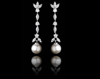 Pearl wedding earrings bridal vintage inspired Art Deco 1920/30s style faux pearl crystal drop wedding bridal earrings silver tone