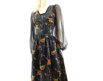 sale 70s Floral Maxi, Black Floral Dress, 70s Vintage Maxi, Boho Maxi Dress, Sheer Sleeve Dress, Orange Red Floral, Tangerine, Size M