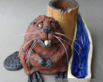 Eager Beaver Desk Organizer Ceramic Animal Sculpture