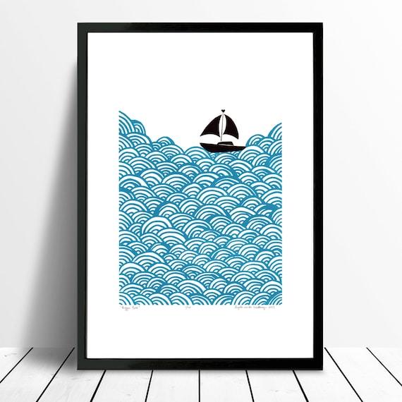 "Fine Art Print ""Bigger Boat"" (Teal) A3 size"