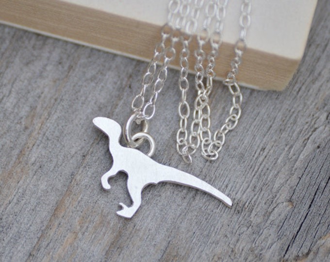 Velociraptor Necklace, Dinosaur Necklace In Sterling Silver, Animal Necklace, Jurassic Necklace