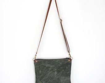 Waxed Canvas Day Bag Purse in Green