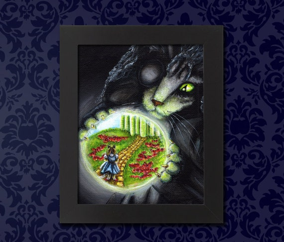 Wicked Witch of the West Cat, Wizard of Oz, Crystal Ball 5x7 Archival Art Print