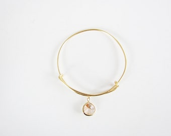 Peach Gem Charm Adjustable Gold Bangle