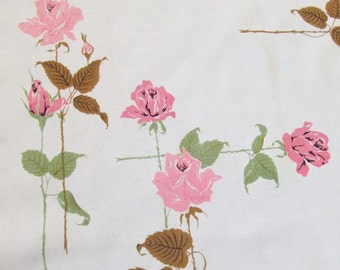 Linen Tablecloth Large Pink Roses