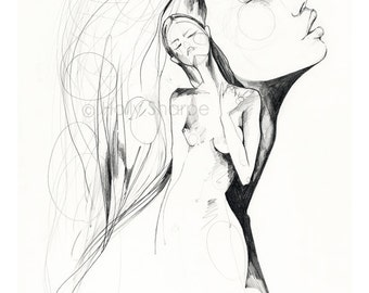 Elsewhere // Limited Edition giclée print from an original pencil drawing by Holly Sharpe