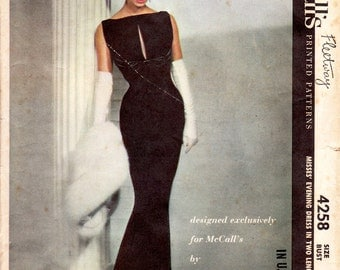 Pauline Trigere - McCalls 4258 - vintage 50s evening dress sewing pattern - bust 36