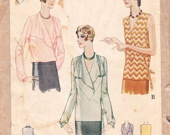 Vintage 20s blouse sewing pattern - McCall 5962 - bust 38
