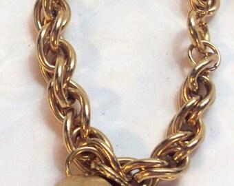 Vintage 70's Napier Golden Apple BOOK PIECE Charm Bracelet by Eugene Bertolli