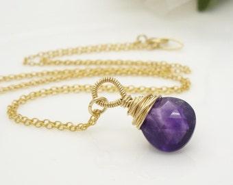 Gold amethyst necklace, 14kt gold filled wire wrapped dark violet purple amethyst gemstone briolette necklace, handmade gold jewelry