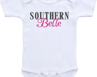 Southern Belle Onesies® brand Gerber Onesie Bodysuit. Cute baby shower gift for girl. Southern baby shirt