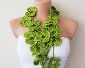 Flower Scarf Hand Crochet Green Flowers Lariat Scarf