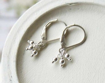 Tiny Silver Dangle | Small Earrings | Sterling Silver Earrings | Silver Beaded Drop | Dangle Leverback Earring | Dainty Jewelry