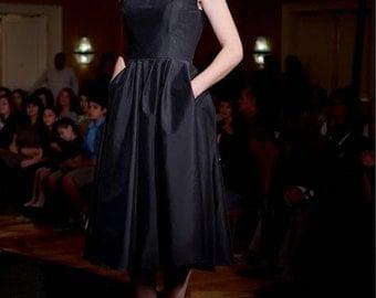 Handmade ++The Perfect Little Black Taffeta Dress: Robert Greco Couture