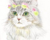 """cat drawing  """"A Bohemian Princess With Flower Hair Garland"""" wall art decor, desk decoration, cat lover gift"""