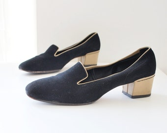 SALE...70s AMALBI by RANGONI made in Italy black suede shoes. slipper shoes. low heel shoes - eur 38 us 7.5 uk 5