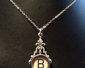 "TYPEWRITER Key Necklace: The Letter ""B"" Typewriter Key Necklace, Sterling Silver, Steampunk Necklace, Handmade"