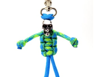 Zipper Zombie, Skeleton Parabuddy, Paracord Zipper Pull, Paracord Keychain - Blue and Lime Paracord Skeleton