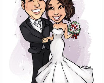 Custom Wedding Couple Caricature Digital Art