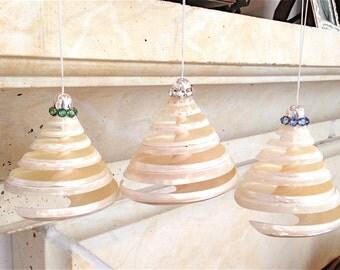 Beach Christmas Ornament - Spiral Cut Troca Shell with Swarovski Crystals - Choose Clear, Green or Blue Swarovski Crystals