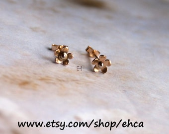 Mini Flower 10k Yellow Gold and 14k White Gold Post Earrings