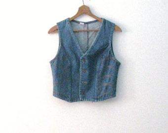 Vintage 70s Wrangler denim vest / orange stitch detail Rustic Country Bohemian jean vest