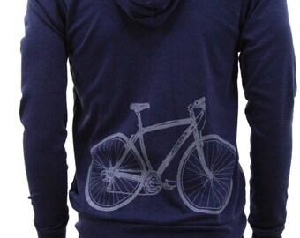 Bicycle| Lightweight full zip hoodie| Bicycle hoodie| Big bike| Art by Matley| Spring hoodie| Soft| gift for him and her| sweatshirt.