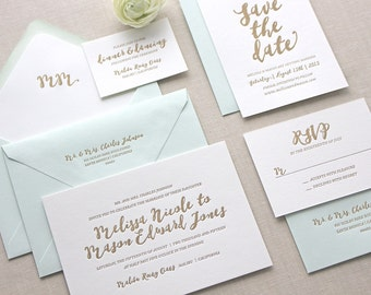 Letterpress Wedding Invitation - Malibu Design - Calligraphy, Traditional, Elegant, Simple, Classic, Script, Destination, Foil