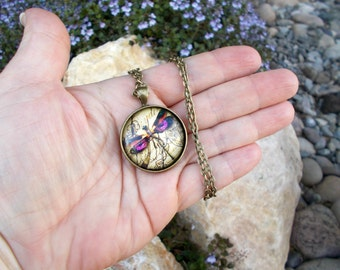 Dragonfly Necklace, Dragonfly Jewelry, Purple Dragonfly, Dragonfly Pendant, Art Pendant, Pendant Necklace, Insect Jewelry, Insect Necklace