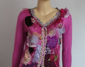 Fuchsia Boho Chic Romantic  Embroidered Beaded Sweater Jacket Tattered Lace Gypsy Textile Collage -Wearable Art - OOAK