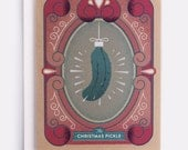 """Christmas Pickle Holiday Card - 100% Recycled French Paper Speckletone Kraft, Vintage Inspired, 4.25"""" x 5.5"""" A2"""