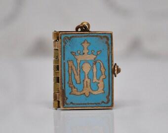 Antique Notre Dame de Lourdes Turquoise Enamel Book Locket Souvenir of France