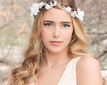 bridal hair acessories, cherry blossom flower crown, wedding headpiece, woodland flower, bridal hair flower, rustic wedding, bridal headband