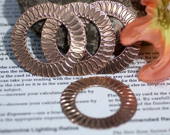 42mm Donut Washer with Circle of Life Texture, Jewelry Supplies, Metal Charm - 2 Pieces