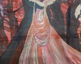 Figural silk painting of dancing couple. Huge custom painting from your photos based on your idea. Unframed silkart. Free shipping worldwide