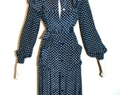 GIVENCHY NOUVELLE Vintage Smock Navy Logo Silk Coat Dress - Authentic -