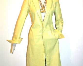 GIANNI VERSACE Vintage Yellow Leather Coat Python Full Length Jacket - AUTHENTIC -