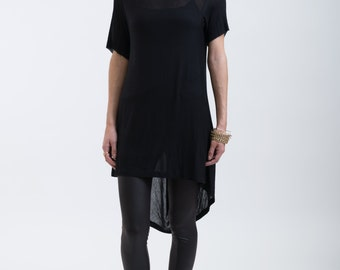 Black Shirt / Loose Fitting Top / Assymetrical Blouse / Short Sleeve Tunic / Casual Blouse / Everyday Shirt / marcellamoda- MB104